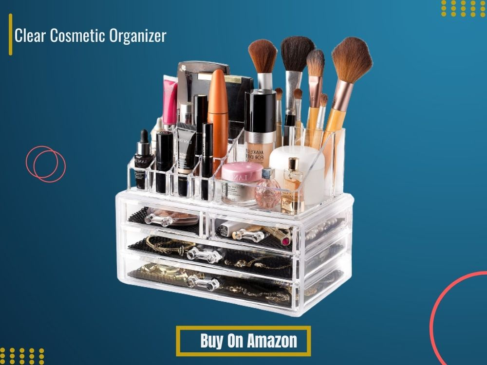 Best Acrylic Makeup Organizer on blue background by bestreviewever